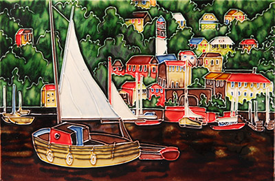 Tile Picture Anchored Boat by Benaya 11x14
